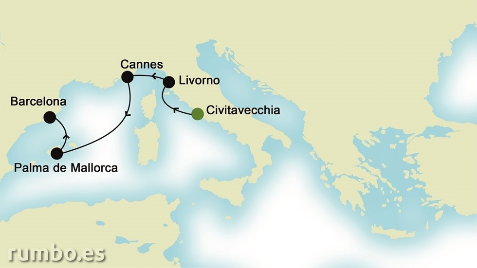 MEDITERRÁNEO OCCIDENTAL desde Civitavecchia