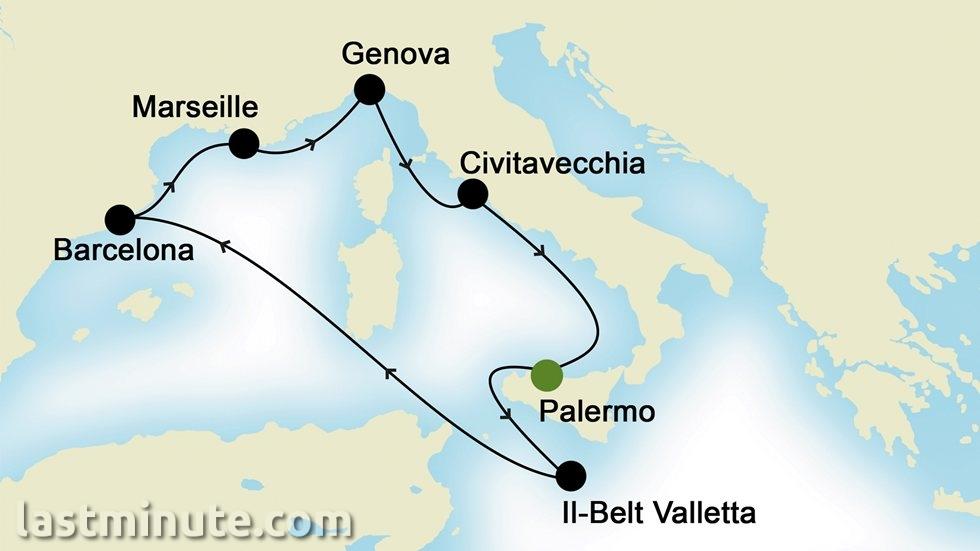 MÉDITERRANÉE OCCIDENTALE au départ de Palermo