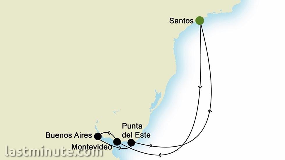 AMÉRIQUE DU SUD au départ de Santos